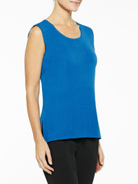 Plus Size Classic Knit Tank Top, Color Harbor Blue Premium Details