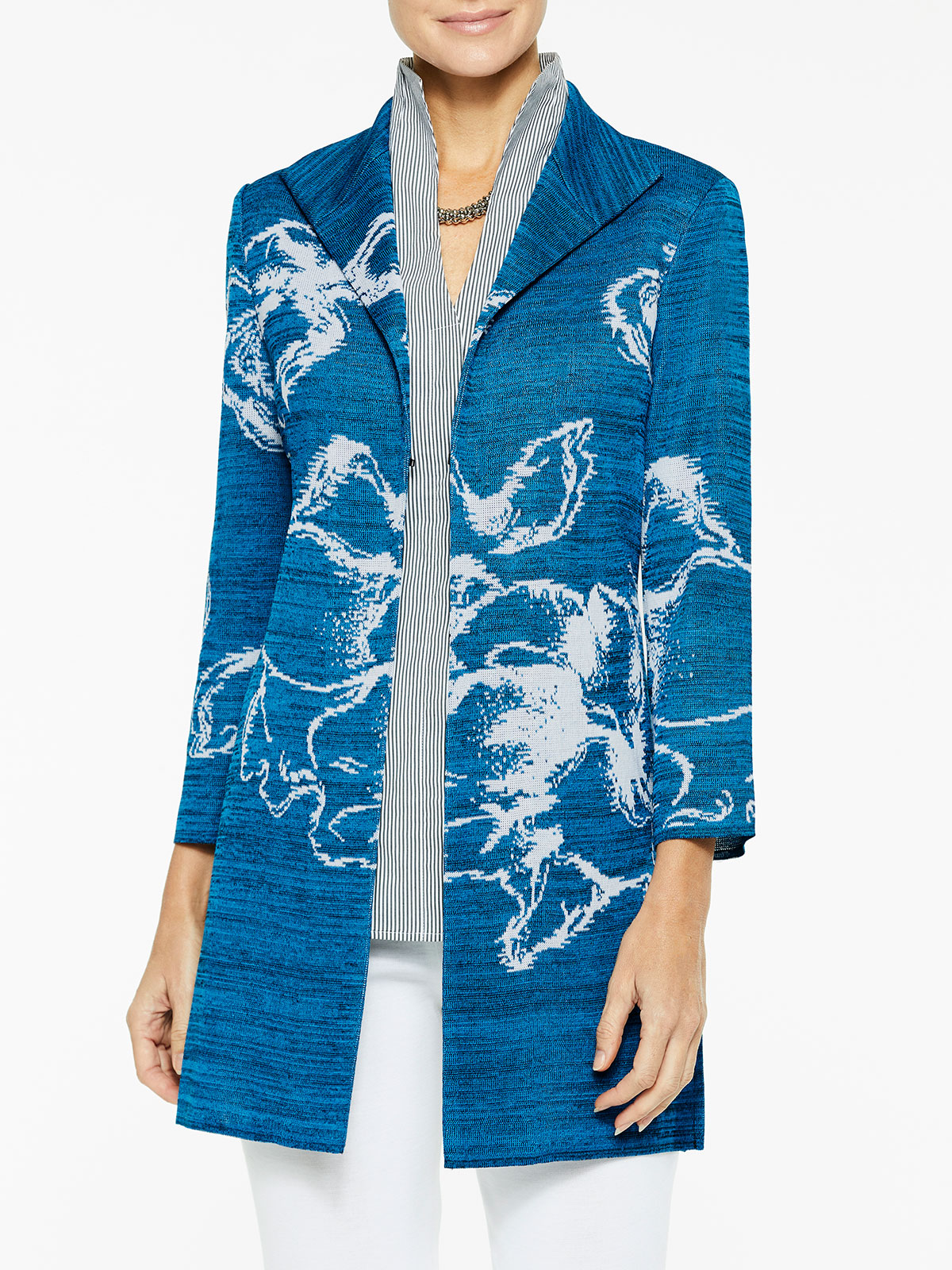 Floral Jacquard Knit Duster Color Harbor Blue/Black/White