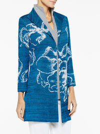 Floral Jacquard Knit Duster Color Harbor Blue/Black/White Premium Details