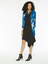 Plus Size Floral Intarsia Knit Duster Color Harbor Blue/Black/White