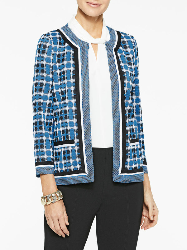 Double Check Jacquard Knit Jacket Color Harbor Blue/Black/White