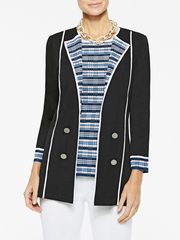 Digital Pattern Lapel Knit Jacket
