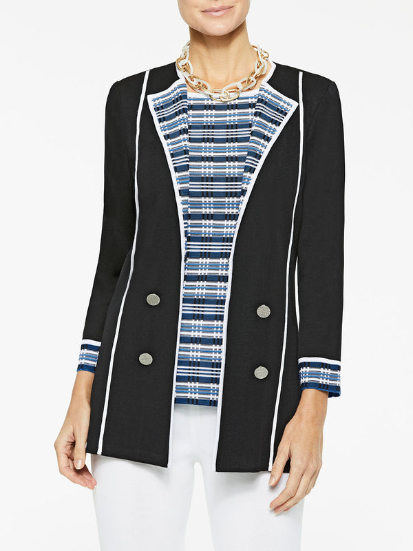 Digital Pattern Lapel Knit Jacket Color Black/Harbor Blue/White