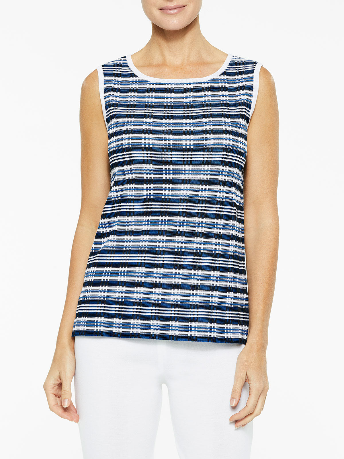 Digital Pattern Classic Knit Tank Top Color Black/Harbor Blue/White