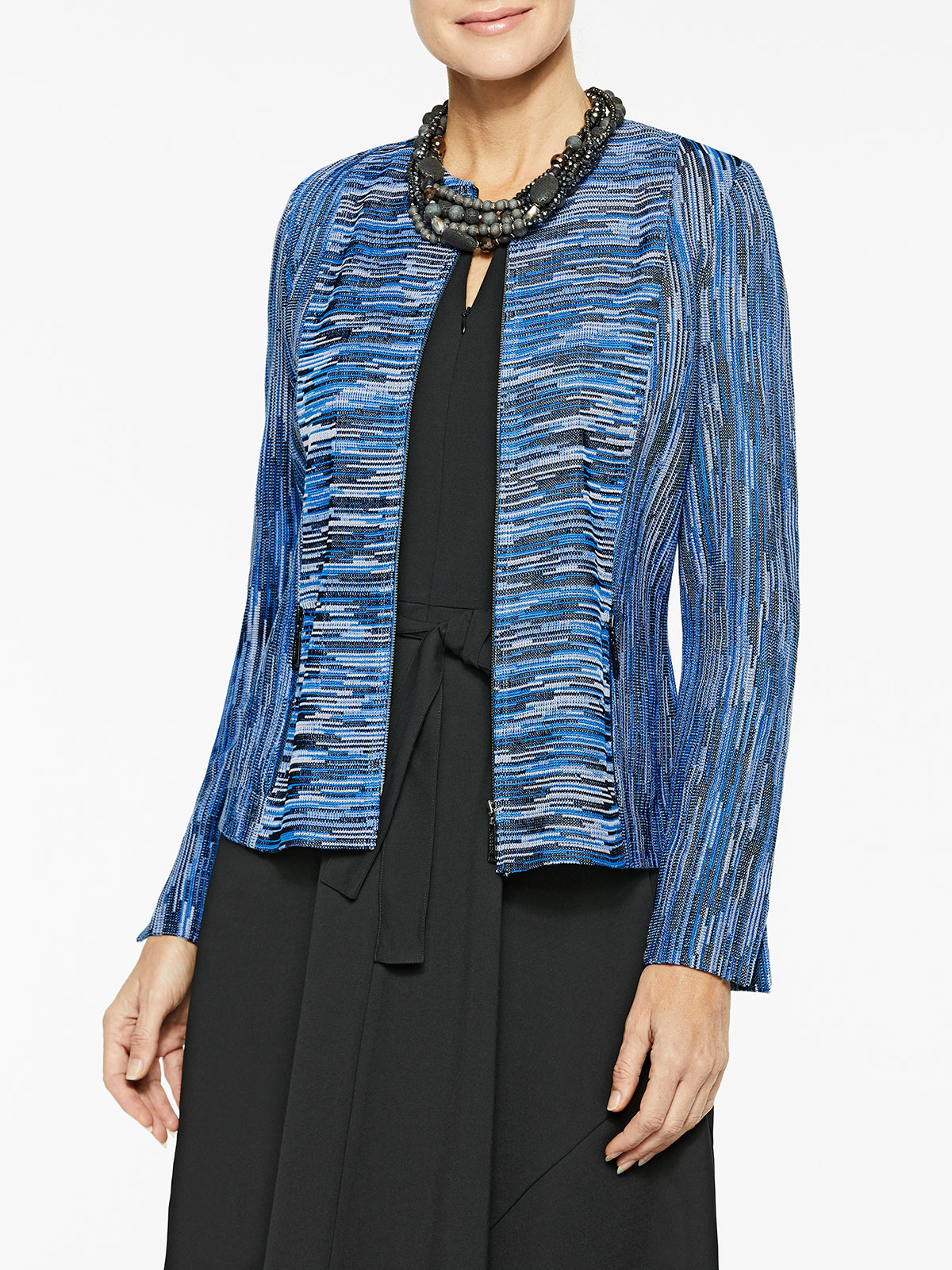 Zip-Up Melange Knit Jacket Color Harbor Blue/Black/White