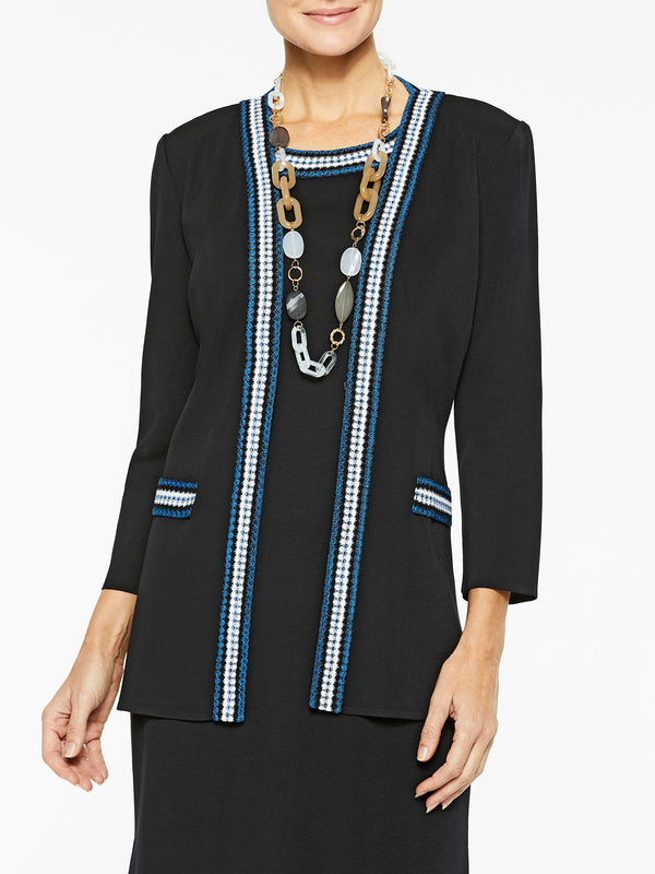 Crochet Trim Classic Knit Jacket Color Black/Harbor Blue/White