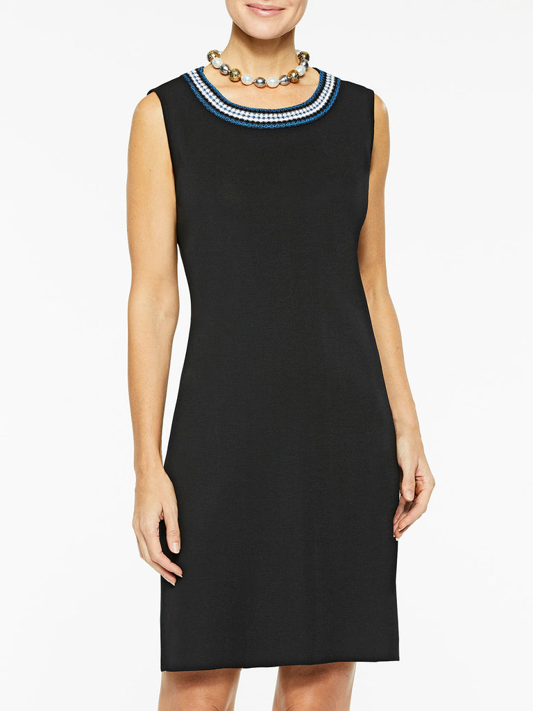 Crochet Trim Sleeveless Sheath Knit Dress Color Black/Harbor Blue/White