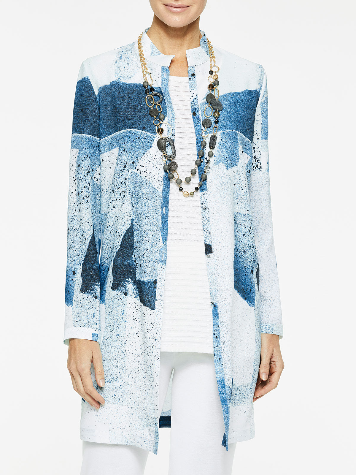 Abstract Pattern Crepe de Chine Blouse Color White/Harbor Blue/Aqua/Black