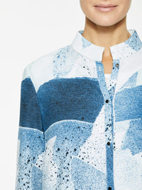 Abstract Pattern Crepe de Chine Blouse Color White/Harbor Blue/Aqua/Black Premium Details