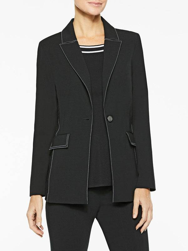 Contrast Stitch Ponte Blazer Color Black/White