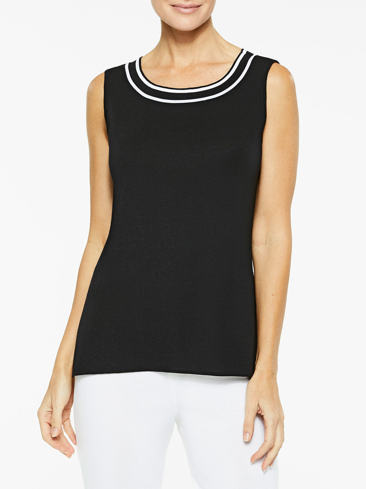 Contrast Stitch Classic Knit Tank Top Color Black/White