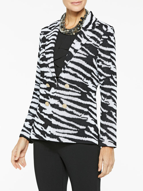 Zebra Pattern Knit Jacket Color Black/White