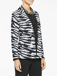 Plus Size Zebra Pattern Knit Jacket Color Black/White