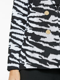 Plus Size Zebra Pattern Knit Jacket Color Black/White Premium Details