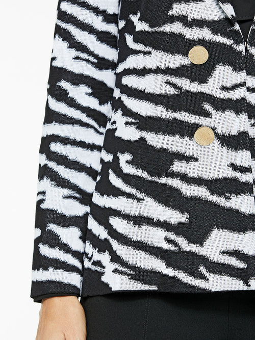 Zebra Pattern Knit Jacket Color Black/White Premium Details