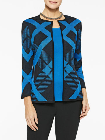 Plus Size Diagonal Lines Knit Jacket
