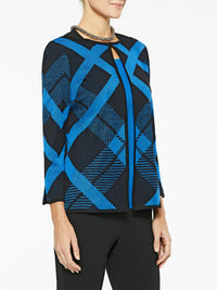 Diagonal Lines Knit Jacket Color Black/Harbor Blue