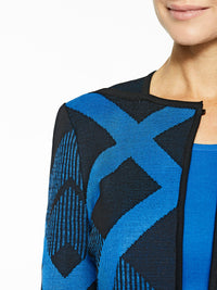 Diagonal Lines Knit Jacket Color Black/Harbor Blue Premium Details