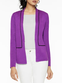 Contrast Piped Knit Blazer, Royal Purple – Misook