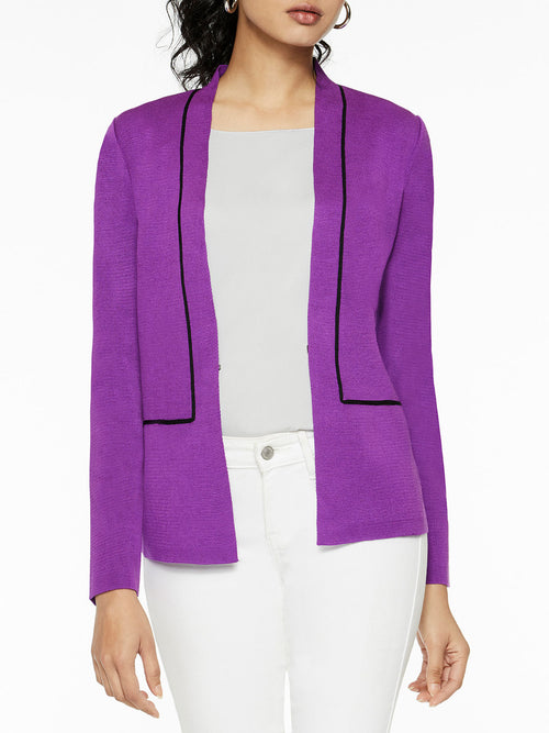 Contrast Piped Knit Blazer, Royal Purple