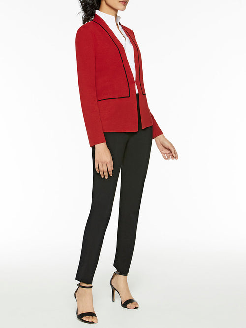 Contrast Piped Knit Blazer, Red