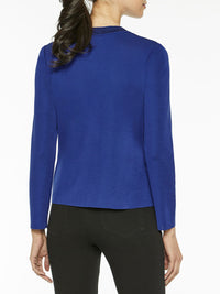 Pinstripe Trim Knit Jacket, Blue Flame – Misook