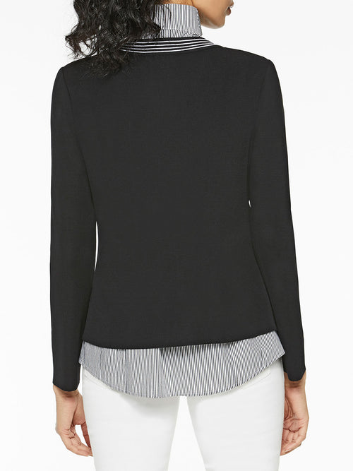 Pinstripe Trim Knit Jacket, Black – Misook