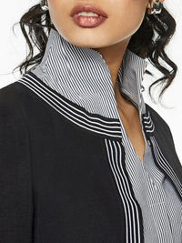 Pinstripe Trim Knit Jacket, Black – Premium Detail – Misook