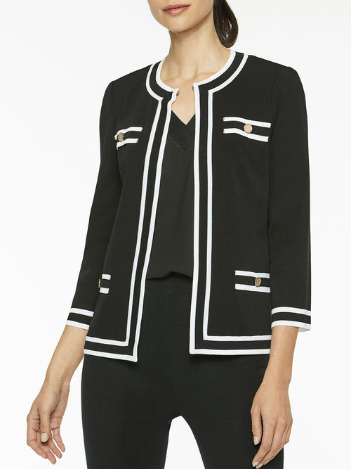 Classic Contrast Trim Knit Jacket, Black – Misook