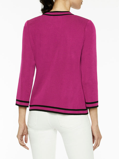Classic Contrast Trim Knit Jacket, Fuchsia Rose