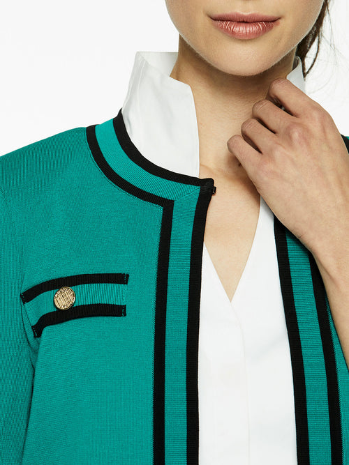Classic Contrast Trim Knit Jacket, Mosaic Green – Misook