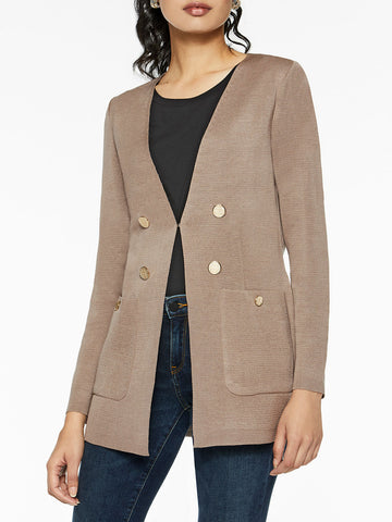 Pocketed Tailored Knit Cardigan, Macchiato