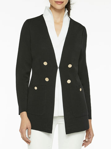 Pocketed Tailored Knit Cardigan, Black