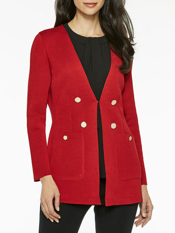 Pocketed Tailored Knit Cardigan, Red