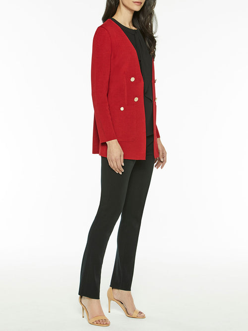 Pocketed Tailored Knit Cardigan, Red – Misook
