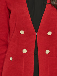 Pocketed Tailored Knit Cardigan, Red – Premium Detail – Misook