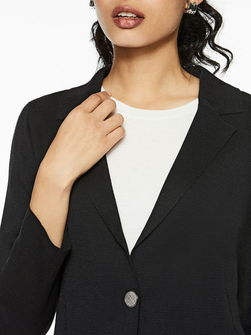 Single Button Classic Knit Blazer, Black – Misook