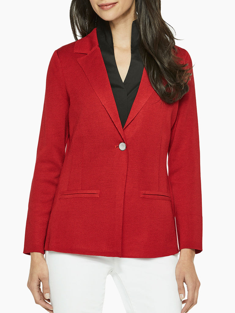 Single Button Classic Knit Blazer, Red