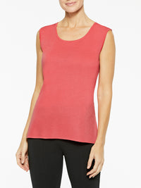 Plus Size Classic Knit Tank Top, Sugar Coral