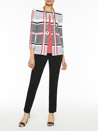 Plus Size Plaid and Stripe Knit Jacket