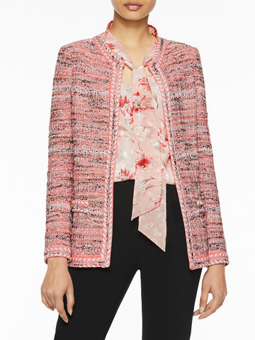Whipstitch Trim Tweed Knit Jacket