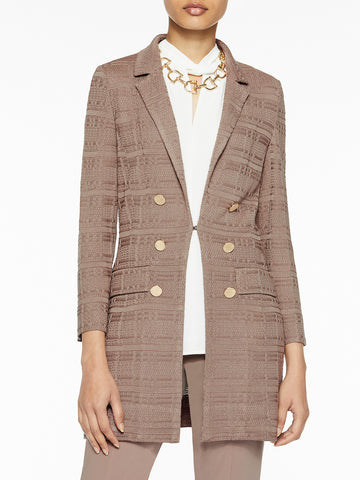 Plus Size Tailored Signature Knit Jacket, Macchiato