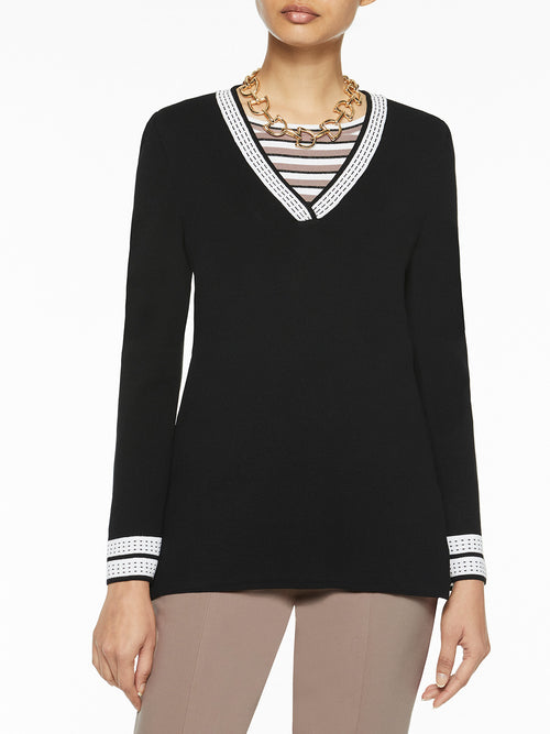 Deep V-Neck Knit Tunic