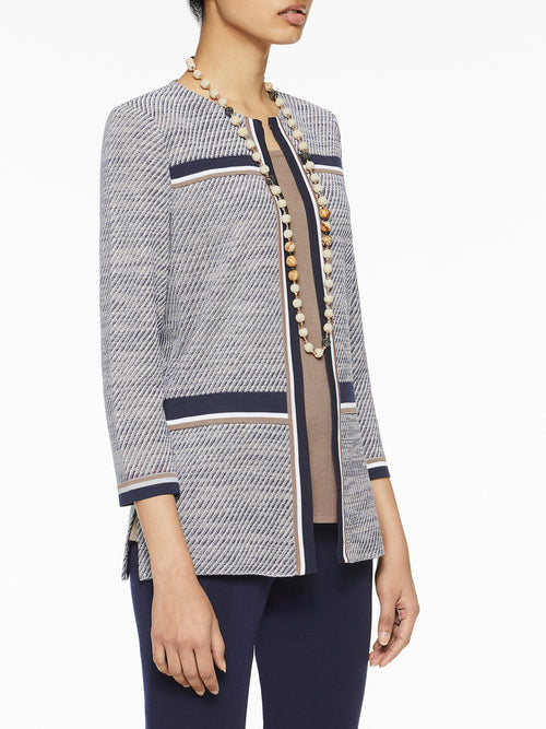 Diagonal Jacquard Knit Jacket