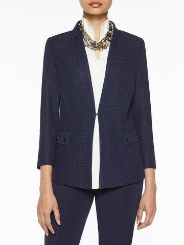 Button Detail Tailored Knit Jacket