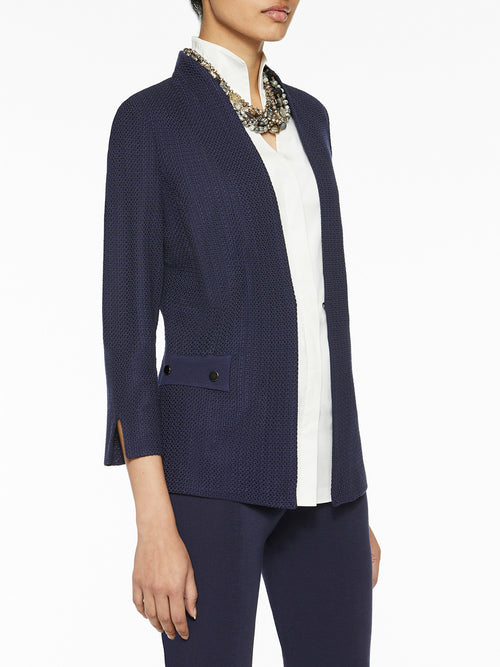 Plus Size Button Detail Tailored Knit Jacket
