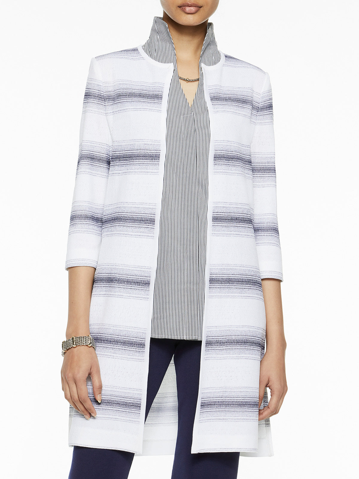 Ombre Stripe Knit Duster