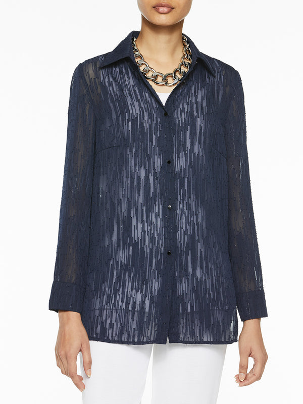 Luster Accent Sheer Blouse