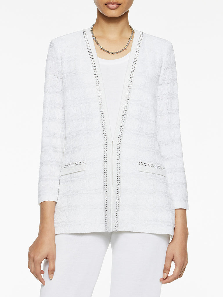 Plus Size Silver Trim Check Knit Jacket Misook
