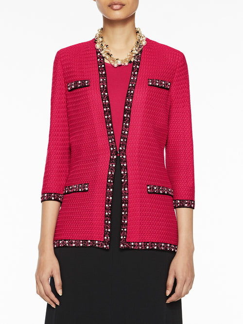 Pearl Trim Textured Knit Jacket